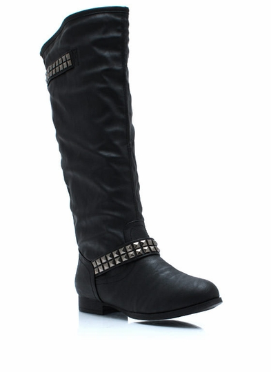 Flair And Square Studded Riding Boots