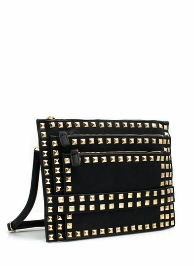 Flat-Out Studded Faux Leather Clutch