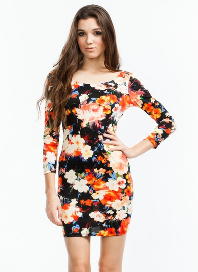 Floral Cross-Back Bodycon Dress