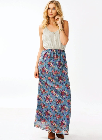 Floral Henley Maxi Dress