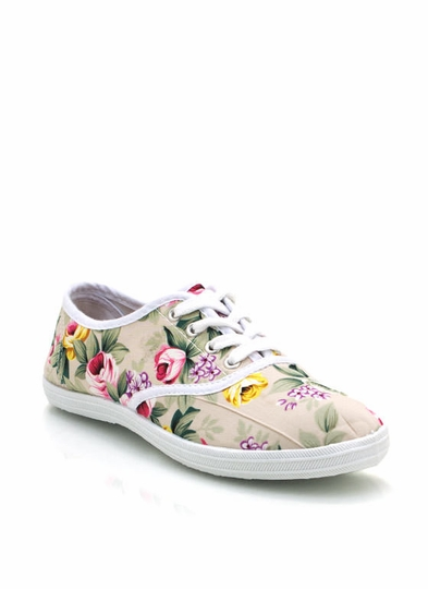 Floral Lace-Up Sneakers