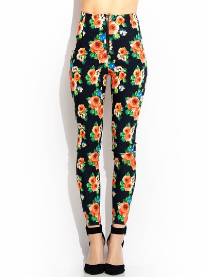 Floral Zippered High-Waisted Skinnies