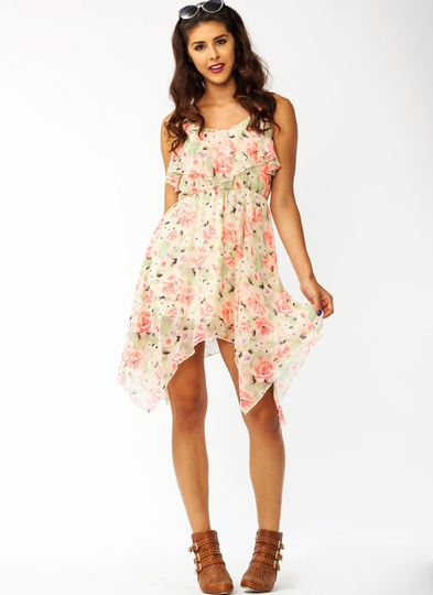 Flouncy Floral Hankie Dress