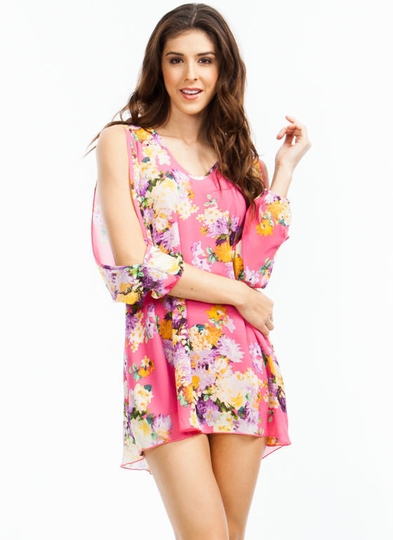 Flower Burst Slit Sleeve Dress