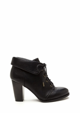 Fold Move Faux Leather Lace-Up Booties