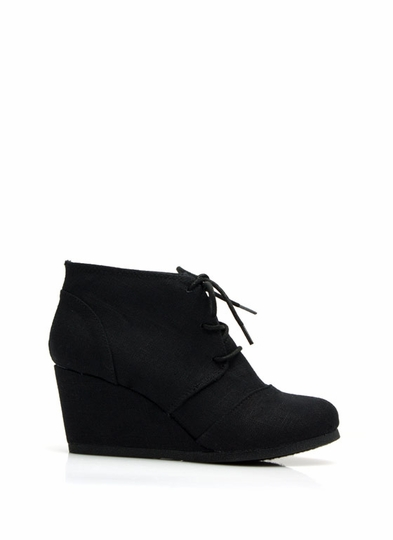 Fresh Linen Lace-Up Bootie Wedges