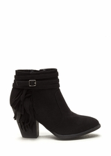 Fringe Benefit Faux Suede Booties