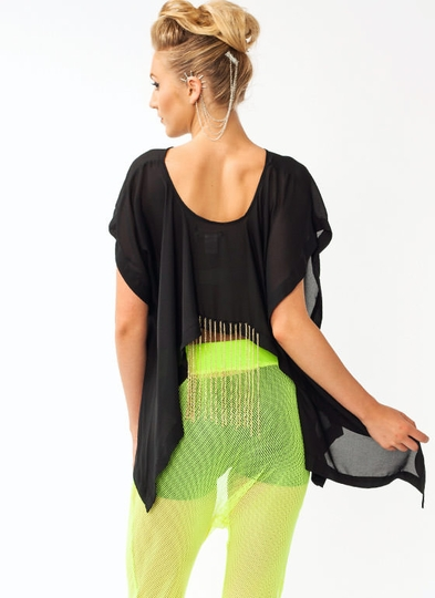 Fringe Chain Georgette Top