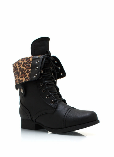 Frisky Kitty Zip-Up Combat Boots