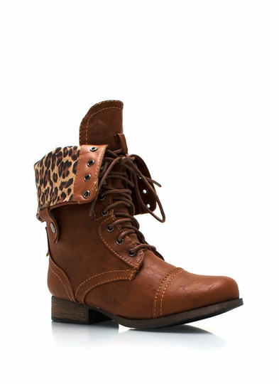 Frisky Kitty Zip Up Combat Boots