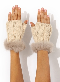 Furry Cable Fingerless Mittens