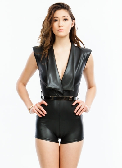 Gaga Faux Leather Romper