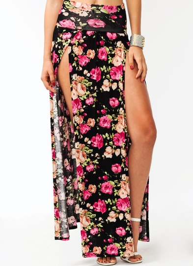 Garden Party Slit Maxi Skirt