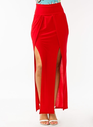 Gathered Double Slit Maxi Skirt