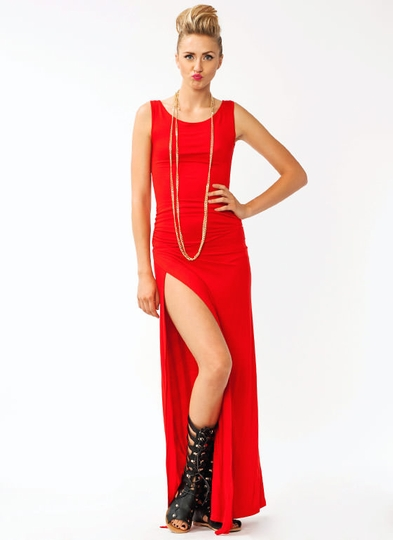 Gathered Slit Maxi Dress