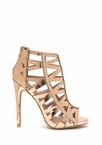 Geo For It Caged Metallic Heels