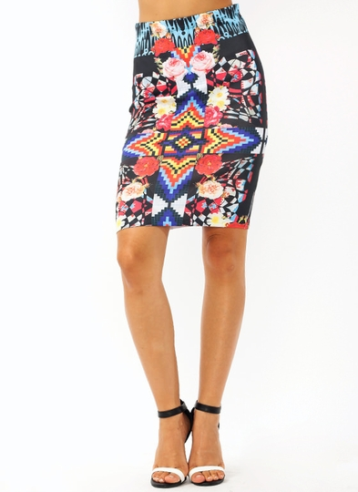 Geometric Rose Pencil Skirt