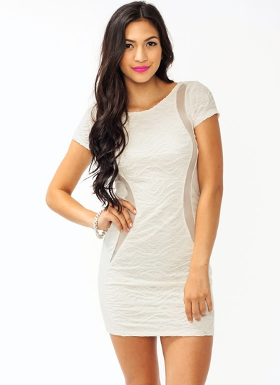 Get Textured Contrast Dress