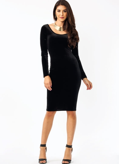 Get The Scoop Velvet Dress