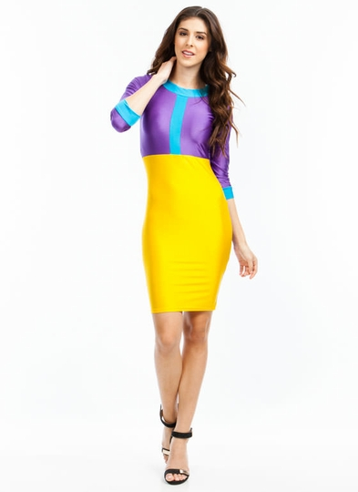 Getting High Shine Colorblock Dress