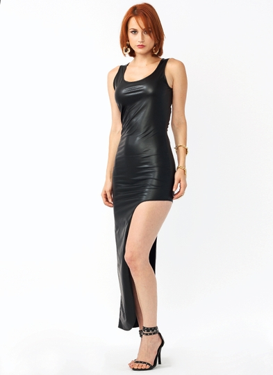 Getting Leggy Faux Leather Dress