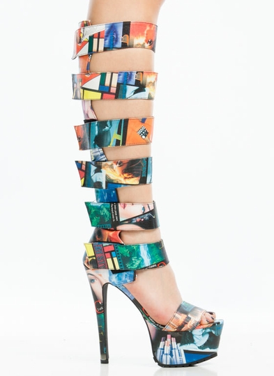 Strap To It Collage Gladiator Heels