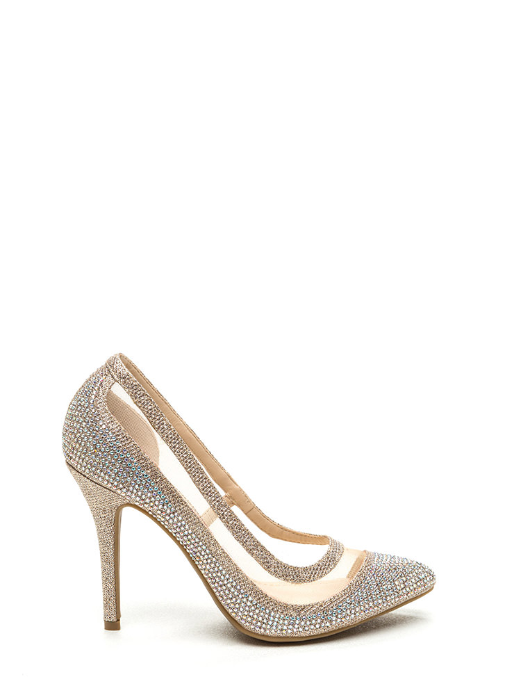 Grains Of Glitter Peep-Toe Heels RED GOLD BLACK SILVER - GoJane.com