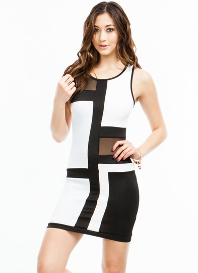 Go To Grid Lengths Mesh Inset Dress