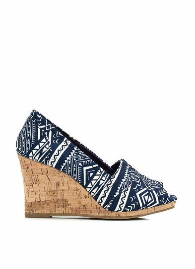 Going Tribal Faux Cork Wedges