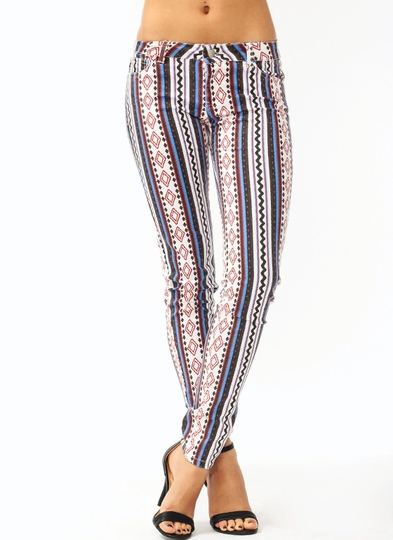 Gone West Printed Skinny Jeans