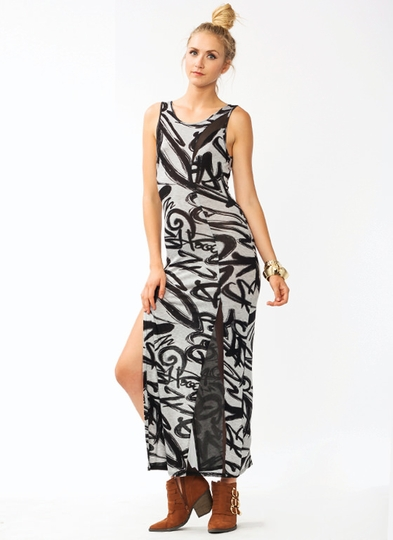 Graffiti Girl Double Slit  Maxi Dress