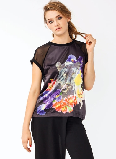 Graphic Floral Panther Top
