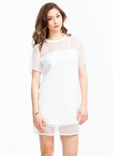 Grid the Line Shift Dress
