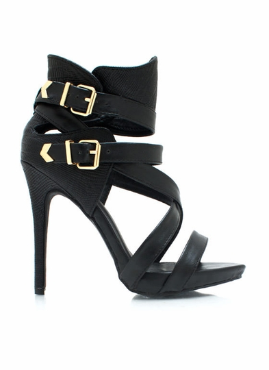 Guard Up Strappy Scaled Heels