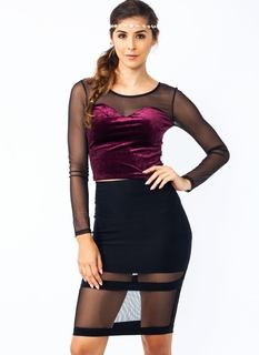 Heart On Velvet Mesh Top