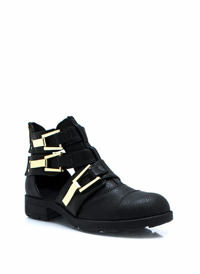 Heavy Metal Buckled Ankle Boots