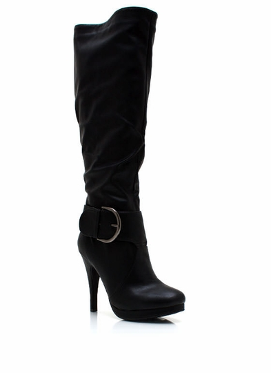 Heeled Chunky Buckle Boots