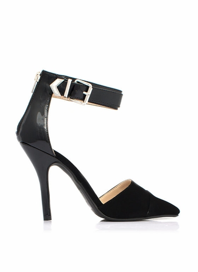 Mixed Media Single Buckle Heels