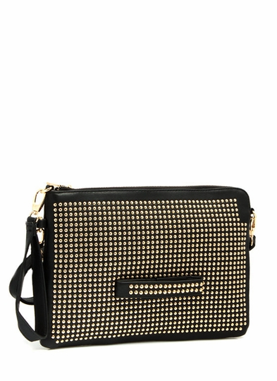 Hey Stud Faux Leather Clutch