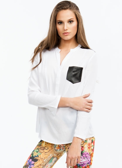 Hi Contrast Pocketed Tunic Blouse