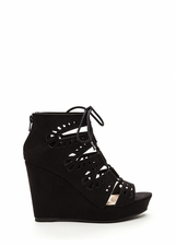 High Drama Cut-Out Lace-Up Wedges