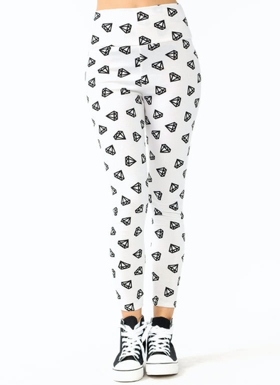 High Waisted Diamond Printed Leggings