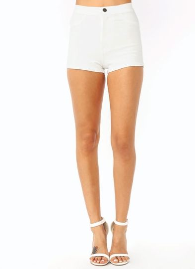High-Waisted Faux Pocket Shorts