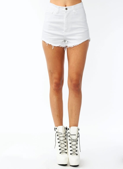High-Waisted Frayed Shorts