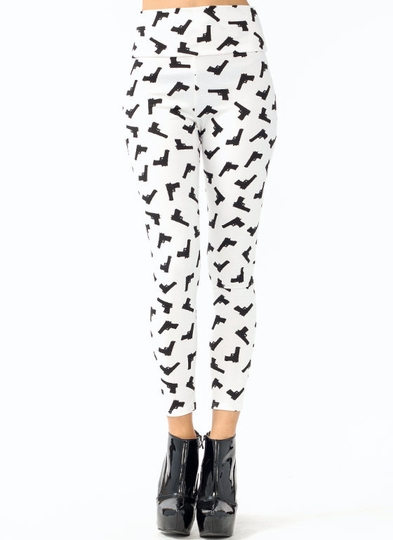 High-Waisted Gun Printed Leggings