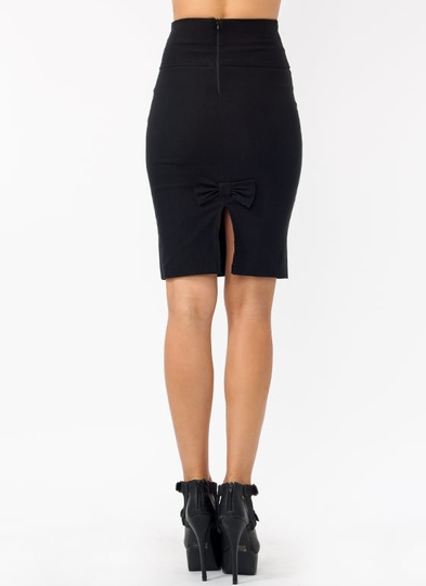 High-Waisted Pencil Bow Skirt