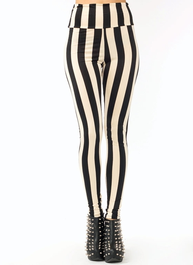 High-Waisted Striped Leggings
