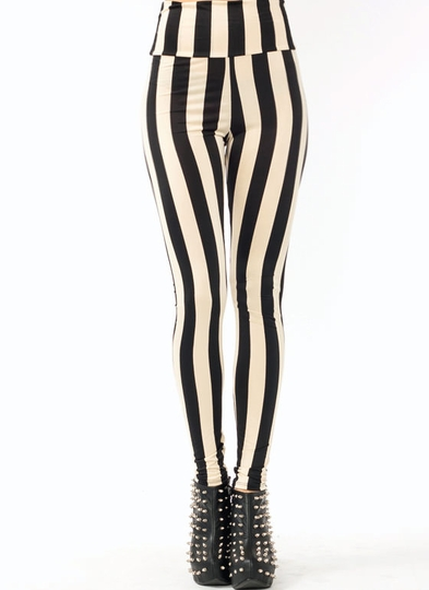 High Waisted Striped Leggings