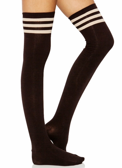 Hit Your Stripe Thigh-High Socks