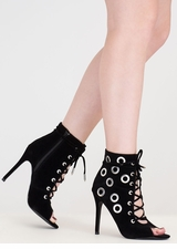 Hole Heart Embellished Lace-Up Booties